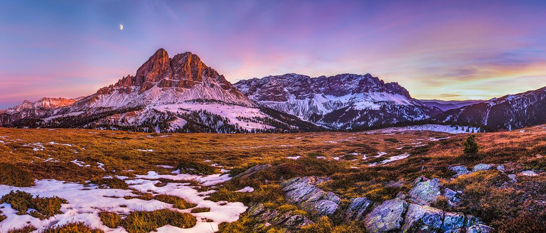 Peitlerkofel Sunset, Würzjoch, Dolomiten, Südtirol, Italien