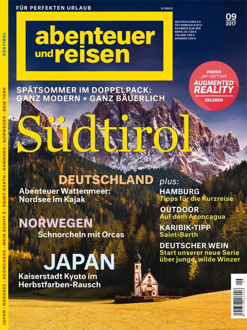 """Cover """"abenteuer und reise"""" Ausgabe 09/2017"""