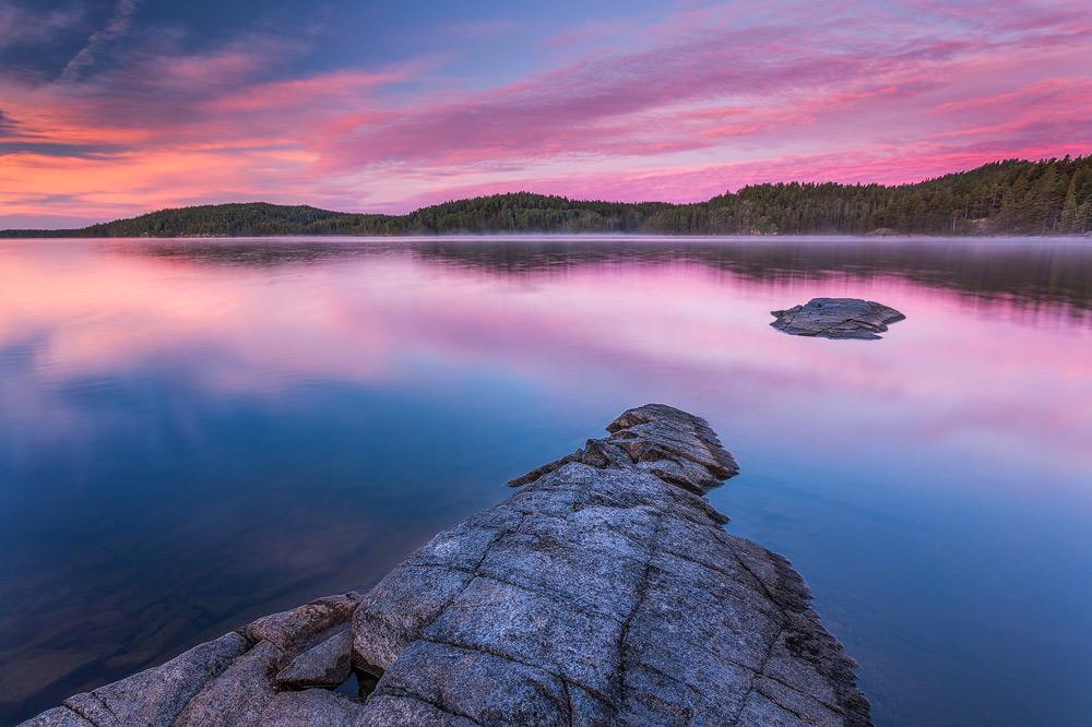 Sonnenuntergang am Stora Le in Schweden