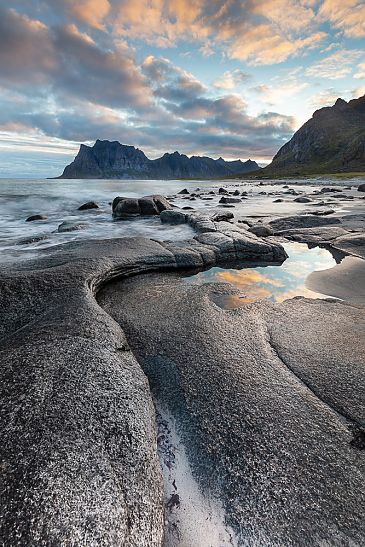 Der Strand von Utakleiv, Lofoten, Norwegen