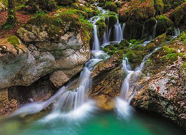 Lepena Wasserfall, Triglav Nationalpark, Slowenien
